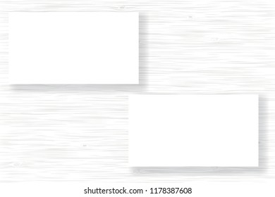 White business card templates on white wood background