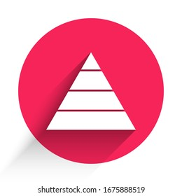 White Business pyramid chart infographics icon isolated with long shadow. Pyramidal stages graph elements. Red circle button. Vector Illustration