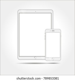 White business tablet and smartphone similar to iPad and iPhone  on white background.