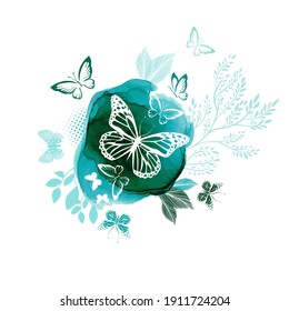 White butterflies on a watercolor green background. Vector illustration