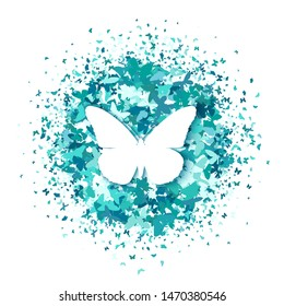 White butterfly on round of turquoise glitter confetti butterflies on white background. Vector. Creative concept for wedding invitations, cards, tickets, congratulations, branding, logo, label.
