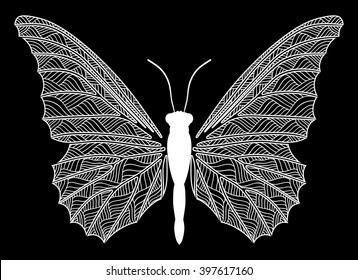 White butterfly style zentangle on a black background. Vector illustrate.