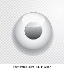 white button with black circle, transparent vector icon