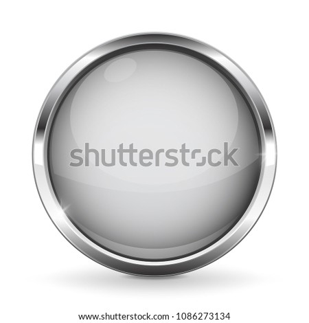 34912cb081e White button with chrome frame. Round glass shiny 3d icon. Vector  illustration isolated on