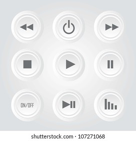white buttons play with sign over white background. vector