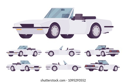 White cabriolet cat set. Roadsters passenger vehicle with a roof folds down, convertible top, two seats, luxury design city auto to enjoy a travel and journey. Vector flat style cartoon illustration