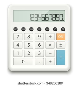 white calculator with standard calculations on white background