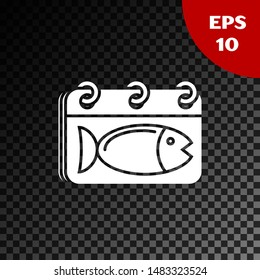 White Calendar with a fish icon isolated on transparent dark background. Day of fish.  Vector Illustration