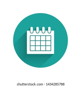 White Calendar icon isolated with long shadow. Event reminder symbol. Green circle button. Vector Illustration