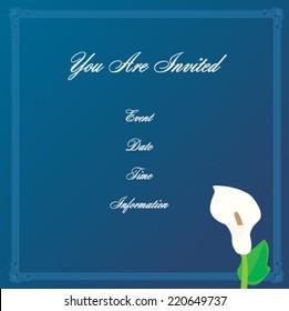 White Calla Lily Blue Background Invitation