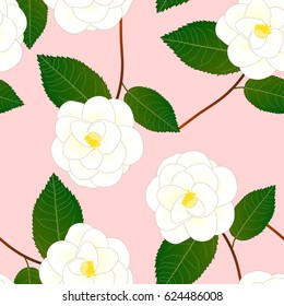 White Camellia Flower on Pink Background. Vector Illustration.