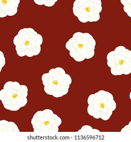 White Camellia Flower on Red Background. Vector Illustration.