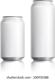 White can vector visual 330 ml & 500 ml, ideal for beer, lager, alcohol, soft drinks, soda, fizzy pop, lemonade, cola, energy drink, juice, water etc. Drawn with mesh tool. Fully adjustable & scalable