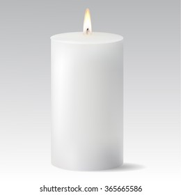 White candle isolated on white background