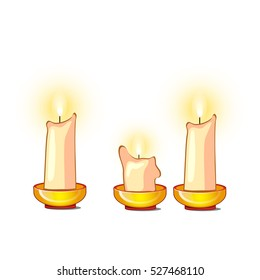 White candles burn and melt isolated on white background. Vector cartoon close-up illustration.