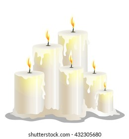 White candles burn and melt. Vector illustration.