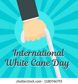 White cane day concept background. Flat illustration of white cane day vector concept background for web design