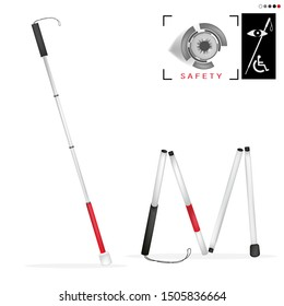 White cane day and international day; help take care of the blind.Vector illustration