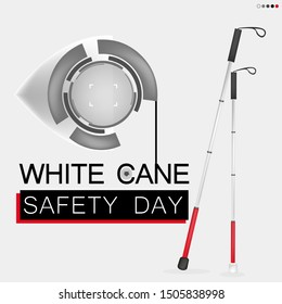 White cane day and international day; help take care of the blind.Vector graphic
