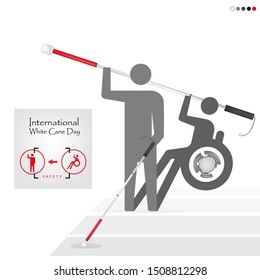 White cane day and international day on crosswalk; help take care of the blind.Vector