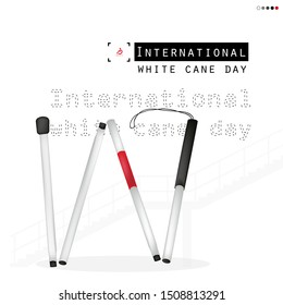 White cane day and international day on overpass background; help take care of the blind.Vector illustration