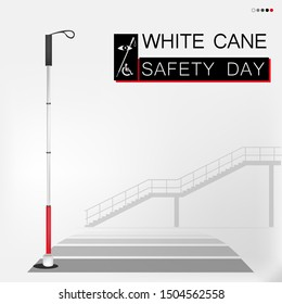 White cane day and luxurious backdrop; help take care of the blind.Vector illustration