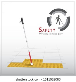 White cane and international day concept safety banner: help take care of the blind by paving the way, helping the blind to visually indicate the guiding indicators, guiRealistic illustration of white