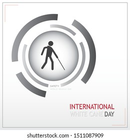 White cane and international day concept safety banner; help take care of the blind. Safety vector logo
