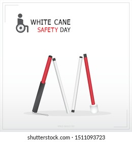 White cane and international day concept safety banner: help take care of the blind.Vector Illustration