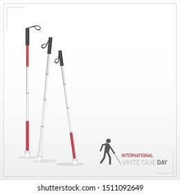 White cane and international day october day concept banner: help take care of the blind.Vector