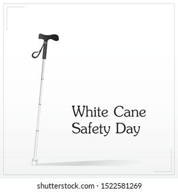 White cane and international day october day concept banner: help take care of the blind.Vector illustration