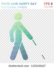 White cane polygonal symbol, admirable mosaic style symbol. Eminent low poly style, modern design.