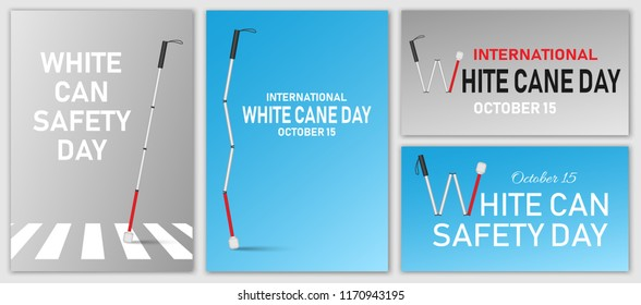 White cane safety banner set. Realistic illustration of white cane safety vector banner set for web design