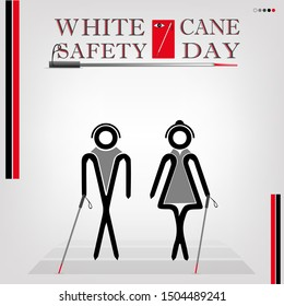 White cane safety day; help take care of the blind.Vector illustration