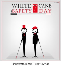 White cane safety day and luxurious gray backdrop; help take care of the blind.Vector illustration