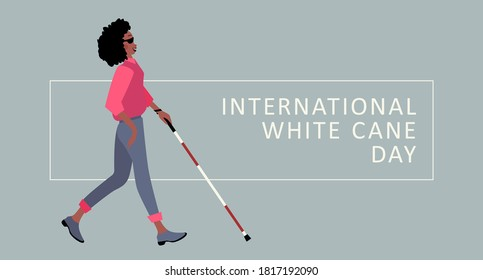 White Cane Safety Day vector illustration. White cane international day concept, help take care of the blind by paving the way, helping the blind to visually indicate the guiding indicators