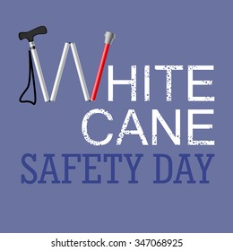 White Cane Safety Day vector illustration