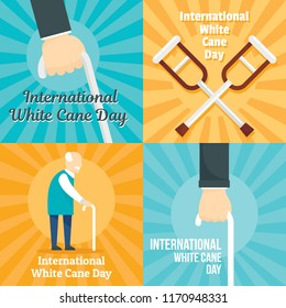 White cane safety stick banner set. Flat illustration of white cane safety stick vector banner set for web design