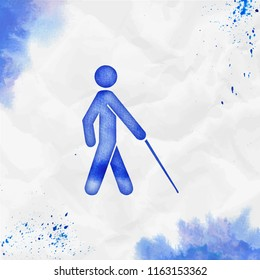 White cane watercolor icon. Admirable hand drawn style symbol. Extraordinary painting. Modern design for infographics or presentation.
