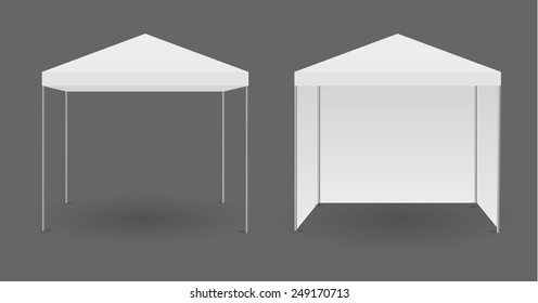 White canopy or tent, vector illustration. Mockup for your design.