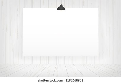 White canvas frame in room space background. Vector illustration.