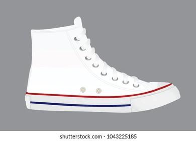 White canvas shoes. vector illustration