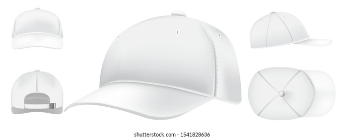White cap mockup. Sport caps top view, baseball hat and uniform hats views realistic 3D vector set. Casual clothing, fashion, informal style wear. Modern headwear front, top, side, back view pack