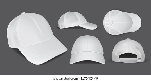 white caps from different sides on a black background