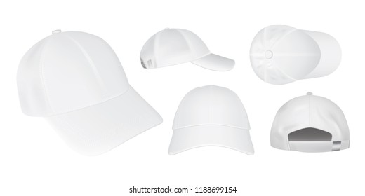 white caps from different sides on a white background Vector