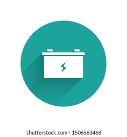 White Car battery icon isolated with long shadow. Accumulator battery energy power and electricity accumulator battery. Green circle button. Vector Illustration
