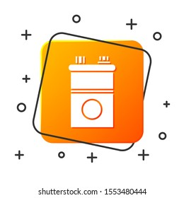 White Car battery icon isolated on white background. Accumulator battery energy power and electricity accumulator battery. Orange square button. Vector Illustration
