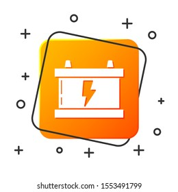 White Car battery icon isolated on white background. Accumulator battery energy power and electricity accumulator battery. Lightning bolt. Orange square button. Vector Illustration