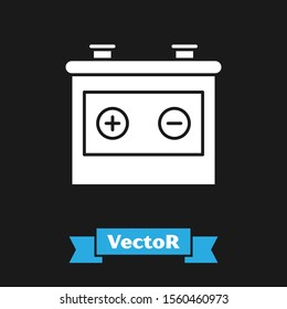 White Car battery icon isolated on black background. Accumulator battery energy power and electricity accumulator battery.  Vector Illustration