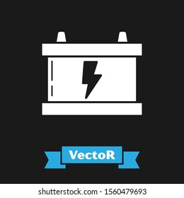 White Car battery icon isolated on black background. Accumulator battery energy power and electricity accumulator battery. Lightning bolt.  Vector Illustration
